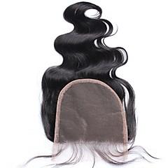 billiga Peruker och hårförlängning-Kroppsvågor 5x5 Stängning Fransk spets Äkta hår Fria delen Mittparti 3 Del
