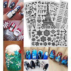 20pcs/Set Creative Christmas&Halloween Design Fashion Nail DIY Beauty Stamping Stencil Charming Snowflake Cute Expression Nail Stamping Plates XYS1-20