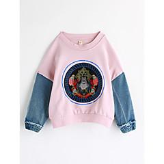 billige Hættetrøjer og sweatshirts til piger-Baby Pige Farveblok Langærmet Bomuld Bluse