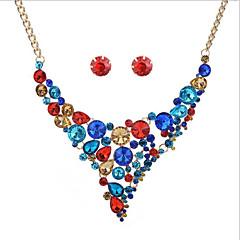 baratos Conjuntos de Bijuteria-Mulheres Geométrica Conjunto de jóias - Boêmio, Fashion, Boho Incluir Brincos Curtos / Colar Arco-íris / Vermelho / Azul Para Casamento / Festa / Aniversário