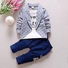 billige Tøjsæt til drenge-Drenge Ternet Patchwork Tøjsæt, Bomuld Forår Efterår Langærmet Ternet Rød Grå Gul Lysegrøn
