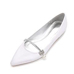 cheap Wedding Shoes-Women's Shoes Satin Spring / Summer Comfort / Ballerina Wedding Shoes Flat Heel Pointed Toe Rhinestone / Pearl / Imitation Pearl Blue /
