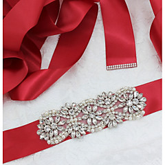 Satin/ Tulle Wedding Party/ Evening Sash With Rhinestone Imitation Pearl