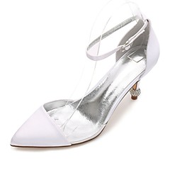 Damer Bryllup Sko Komfort D'Orsay og todelt Basispumps Transparent Shoe Satin Forår Sommer Bryllup Formelt Fest/aftenBjergkrystal