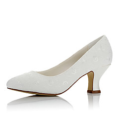 cheap Wedding Shoes-Women's Shoes Satin Winter Fall Comfort Wedding Shoes Chunky Heel Round Toe for Wedding Party & Evening Ivory