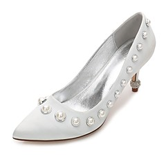 cheap Wedding Shoes-Women's Shoes Satin Spring / Summer Comfort / Basic Pump Wedding Shoes Kitten Heel / Cone Heel / Low Heel Pointed Toe Pearl / Imitation