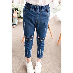 baratos Roupas de Meninas-Para Meninas Jeans Bordado Primavera Algodão Azul
