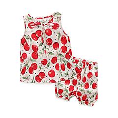 billige Sett med babyklær-Baby Pige Tøjsæt Afslappet/Hverdag Trykt mønster, 100 % bomuld Sommer Uden ærmer Blomster Hvid Navyblå