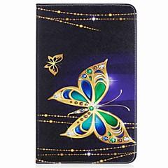 billige Nettbrettetuier-Etui Til Samsung Galaxy Heldekkende etui Tablet Cases Sommerfugl Hard PU Leather til Tab A 10.1 (2016)