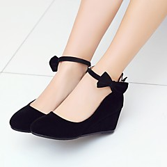 Womens Shoes Nubuck Leather Spring Fall Comfort Ankle Strap Heels Wedge Heel Round Toe Bowknot Buckle For Wedding Party Evening