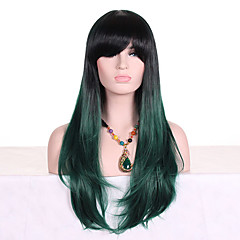 cheap Wigs & Hair Pieces-Synthetic Wig Women's Wavy Green With Bangs Synthetic Hair Ombre Hair / Dark Roots Green Wig Long Capless Black / Dark Green