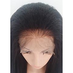 billiga Peruker och hårförlängning-Äkta hår Spetsfront Peruk Brasilianskt hår Kinky Rakt Med babyhår 130% Densitet 100 % handbundet Afro-amerikansk peruk Mellan Dam Äkta