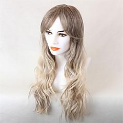 billige Lågløs-Human Hair Capless Parykker Menneskehår Bølget Ombre-hår Lang Maskinproduceret Paryk Dame