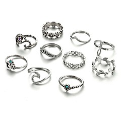 Women's Midi Rings Crystal Rhinestone Geometric Cross Crystal Alloy Leaf Waves Jewelry For Casual Formal