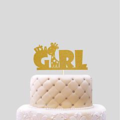 billige Kakedekorasjoner-kake topper nye baby hjerter papir bursdag med pvc bag bryllupet mottak