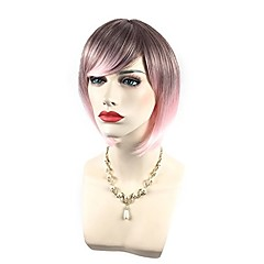 cheap Wigs & Hair Pieces-Synthetic Wig / Cosplay Wig Women's Wavy Red Bob / With Bangs Synthetic Hair Highlighted / Balayage Hair / Side Part Red / Blue / Pink Wig Short Capless fluorescent green Pink Yellow / Green / Brown