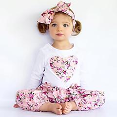 billige Tøjsæt til piger-Baby Pige Blomster / Pænt tøj Blomstret / Broderi Trykt mønster Langærmet Bomuld Tøjsæt