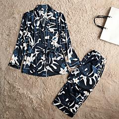 billige Moteundertøy-Dame Sateng Skjortekrage Pyjamas - Blomstret