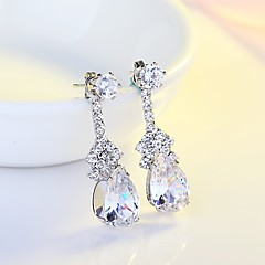Women's Drop Earrings AAA Cubic Zirconia Classic Elegant Silver Cubic Zirconia Drop Jewelry For Wedding Evening Party