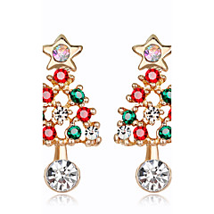 Women's Kid's Stud Earrings Fashion Chrismas Rhinestone Alloy Jewelry For New Year Christmas