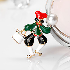 Women's Brooches Cute Style Chrismas Rhinestone Alloy Jewelry For Gift Christmas