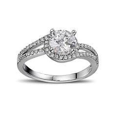 levne -Dámské Zásnubní prsten Kubický zirkon láska Srdce Stříbro Zirkon Round Shape Šperky Pro Svatební Zásnuby
