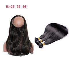 Χαμηλού Κόστους Εξτένσιος μαλλιών με φυσικό χρώμα-Βραζιλιάνικη Ίσιο Remy Τρίχα 3 πακέτα με κλείσιμο Υφάνσεις ανθρώπινα μαλλιών 8α Μαύρο Επεκτάσεις ανθρώπινα μαλλιών / Ίσια