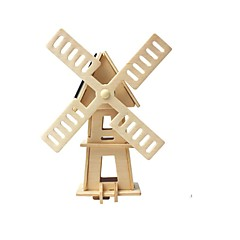 cheap -RUOTAI 3D Puzzle Wood Model Windmill Solar Powered Wood 1pcs Kid's Gift