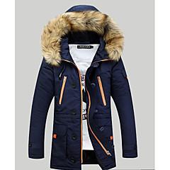 Langærmet Lang Dunjakke Herrer Frakke,Aktiv I-byen-tøj Afslappet/Hverdag Ensfarvet-Rayon Polyester Polypropylen