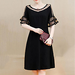 Damen Übergrössen Etuikleid Kleid Solide