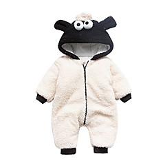 billige Babytøj-Baby Børne En del Helfarve, Polyester Taft Vinter Efterår Langærmet Hvid
