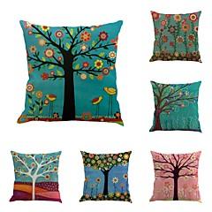 abordables Tissu de Maison-6 pcs Coton / Lin Housse de coussin Taie d'oreiller, Nouveauté Classique Peinture à l'Huile Classique Rétro Traditionnel / Classique