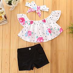 billige Tøjsæt til piger-Pige Tøjsæt Ensfarvet, Bomuld Polyester Sommer Kortærmet Blomster Pænt tøj Sort