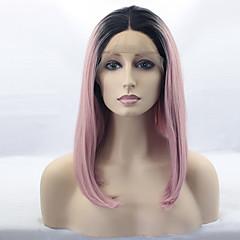 baratos Perucas Sintéticas-Perucas sintéticas Mulheres Liso Rosa Corte Bob Cabelo Sintético Cabelo Ombre / Raízes Escuras / Repartida ao Meio Rosa Peruca Médio Frente de Malha Preto / Rosa