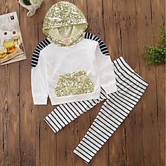 billige Tøjsæt til piger-Baby Pige Stribet / Pænt tøj Stribe / Broderi Langærmet Bomuld Tøjsæt