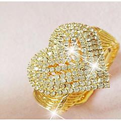 billiga Armband-Dam Kubisk Zirkoniumoxid Strass Guldpläterad Hjärta Manschett Armband - Statement Hjärta Guld Armband Till Bröllop Party