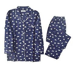 billige Undertøj og sokker til piger-Pige Langærmet Bomuld Nattøj Navyblå