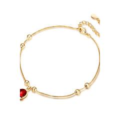 baratos Bijoux de Corps-Ruby Sintético Tornezeleira - Prata de Lei, Chapeado Dourado Boêmio, Boho Dourado Para Festa Noivado Mulheres