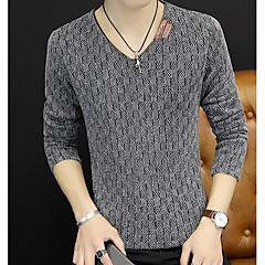 Herren Standard Pullover-Lässig/Alltäglich Einfach Solide V-Ausschnitt Langarm Polyester Herbst Mittel Mikro-elastisch