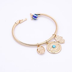cheap -Men's Women's Bangles Bracelet Synthetic Aquamarine Vintage Elegant Alloy Hamsa Hand Evil Eye Jewelry For Party Casual