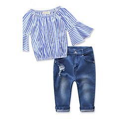 billige Tøjsæt til piger-Pige Tøjsæt Stribet, Rayon Forår Efterår 3/4-ærmer Stribet Blå