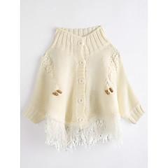 billige Pigetoppe-Baby Pige Ensfarvet Langærmet Bomuld Bluse