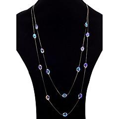 女性用 ストランドネックレス レイヤードネックレス 合成アメジスト 楕円形 合金 ジュエリー 用途 パーティー 日常