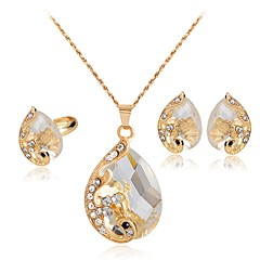 tanie Zestawy biżuterii-Damskie Kryształ Rhinestone Kryształ Kryształ górski Luksusowy Biżuteria Ustaw Zawierać Náušnice Naszyjniki Pierścień - Luksusowy Modny
