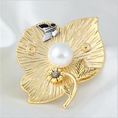 Dame Nåler Imitert Perle Blomster Legering Blomsterformet Smykker Til Daglig