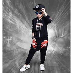 billige Tøjsæt til drenge-Børn Drenge Stribe Bomuld / Spandex Tøjsæt Sort 110