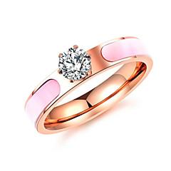 levne -Dámské Široké prsteny Zásnubní prsten Kubický zirkon Nerez Zirkon Šperky Pro Svatební Zásnuby