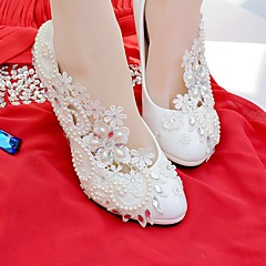 cheap Wedding Shoes-Women's Shoes Lace Leatherette Spring Fall Comfort Wedding Shoes Round Toe Rhinestone Imitation Pearl Appliques for Wedding Party &