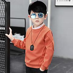 baratos Roupas de Meninos-Para Meninos Blusa Sólido Inverno Outono Algodão Manga Longa Circular Verde Laranja Rosa