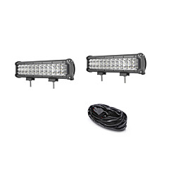 2PCS 108W 10800LM 6000K 3-Rows LED Work Light Cool White Flood Offroad Driving Light for Car/Boat/Headlight IP68 9-32V  3m 1-To-2 Wiring Harness Kit